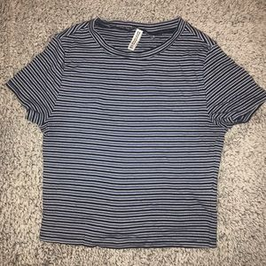 blue striped tee